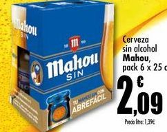 Oferta de Cerveza sin alcohol Mahou, pack 6x25cl por 2,09€