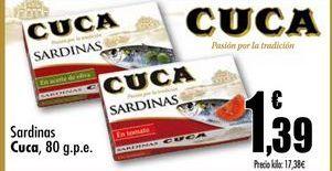 Oferta de Sardinas Cuca, 80 g.p.e. por 1,39€