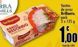 Oferta de Vasitos de arroz Brillante, pack 2x125g por 1€
