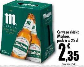 Oferta de Cerveza clasica Mahou, pack 6 x 25cl por 2,35€