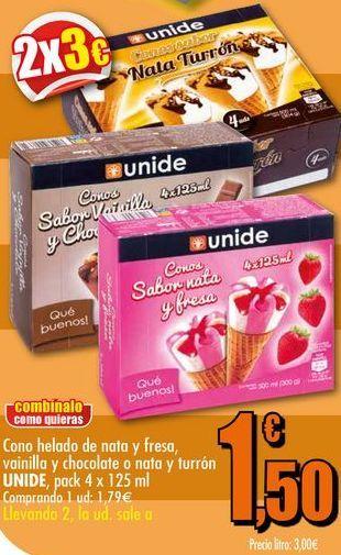 Oferta de Cono helado de nata y fresa, vainilla y chocolate o nata y turron UNIDE, pack 4x125ml por 1,79€