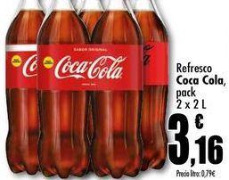 Oferta de Refresco Coca Cola, pack 2x2L por 3,16€