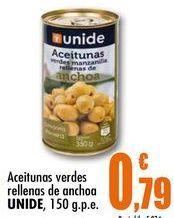 Oferta de Aceitunas verdes rellenas de anchoa UNIDE, 150 g.p.e. por 0,79€