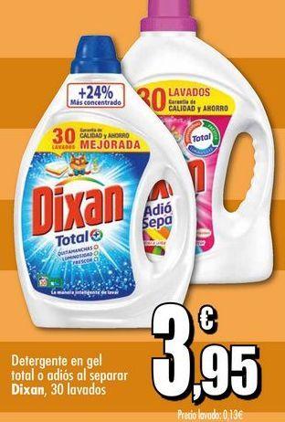 Oferta de Detergente en gel total o adios al separar Dixan, 30 lavados por 3,95€