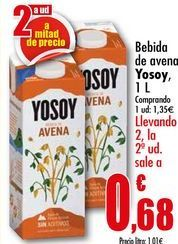 Oferta de Bebida de avena Yosoy, 1L por 1,35€