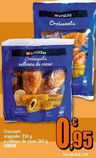 Oferta de Croissants originales 350g o rellenos de cacao 360g UNIDE por 0,95€