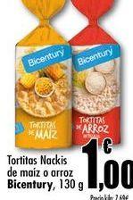 Oferta de Tortitas Nackis de maiz o arroz Bicentury, 130g por 1€