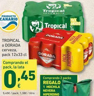 Oferta de TROPICAL o DORADA cerveza, pack 12x33 cl por 5,45€