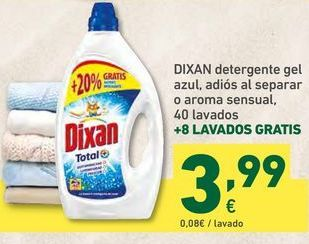 Oferta de DIXAN detergente gel azul, adiós al separar o aroma sensual, 40 lavados por 3,99€