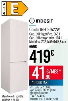 Oferta de INDESIT Combi INFC9TA22W por 419€