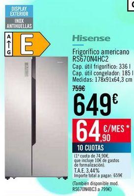 Oferta de Hisense Frigorífico americano RS670N4HC2 por 649€