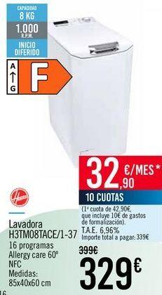 Oferta de HOOVER Lavadora H3TMO8TACE/1-37 por 329€