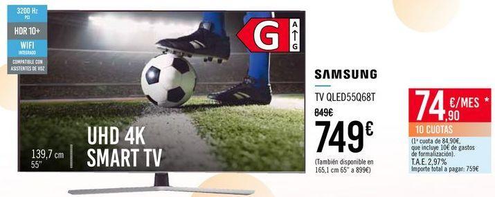 Oferta de SAMSUNG TV QLED55Q678T por 749€