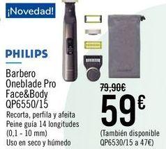 Oferta de PHILIPS Barbero Oneblade Pro Face&Body QP6550/15 por 59€