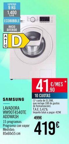 Oferta de SAMSUNG LAVADORA WW90T4540TE ADDWASH por 419€