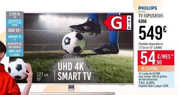 Oferta de PHILIPS TV 50PUS8505 por 549€