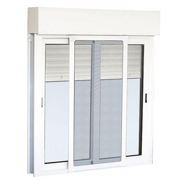Oferta de Ventana de aluminio corredera con mosquitera y persiana 116 x 100 cm por 139€