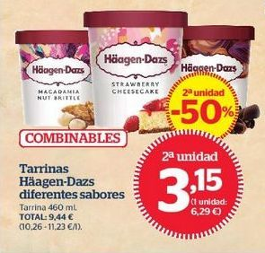 Oferta de Tarrinas Häagen-Dazs diferentes sabores por 3,33€