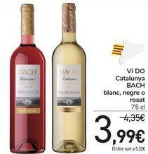 Oferta de Vi DO Catalunya BACH blanc, negre o rosat por 3,99€