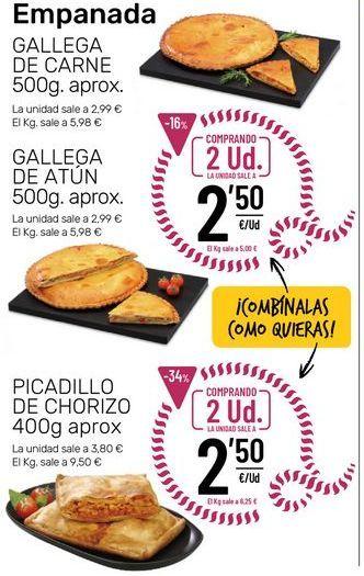 Oferta de Empanada gallega de carne, atún o picadillo de chorizo por 2,5€