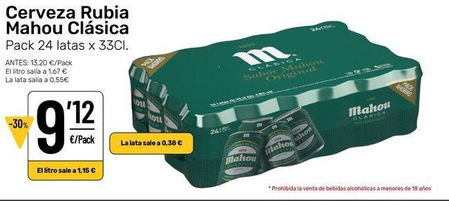 Oferta de Cerveza rubia Mahou por 9,12€