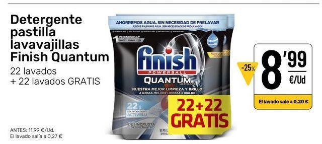 Oferta de Detergente lavavajillas Finish por 8,99€