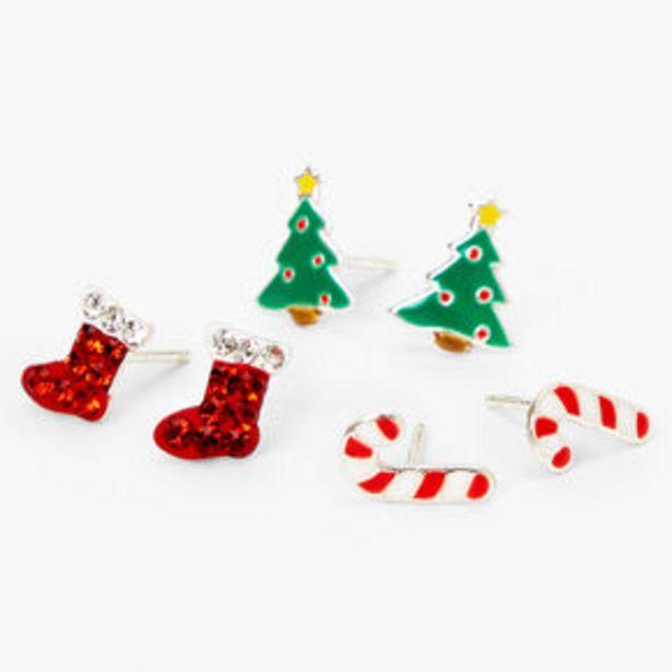 Oferta de Sterling Silver Christmas Stud Earrings - 3 Pack por 12,5€