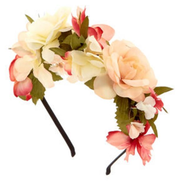 Oferta de Ivory & Pink Flower Headband por 4,8€