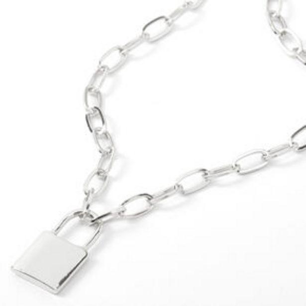 Oferta de Silver Lock Pendant Chain Necklace por 4€
