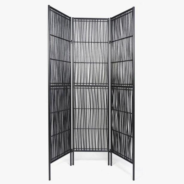 Oferta de Biombo Rattan Negro45x180 cm por 159€