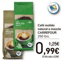 Oferta de Café molido natural o mezcla CARREFOUR  por 0,99€