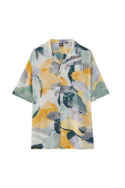 Oferta de Camisa print acuarela - 100% ECOVEROTM Viscosa por 9,99€