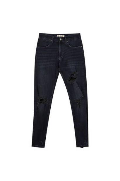 Oferta de Jeans skinny fit tejido premium rotos por 7,99€