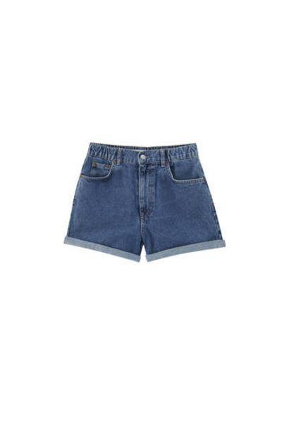 Oferta de Shorts vaqueros mom cintura elástica por 12,99€