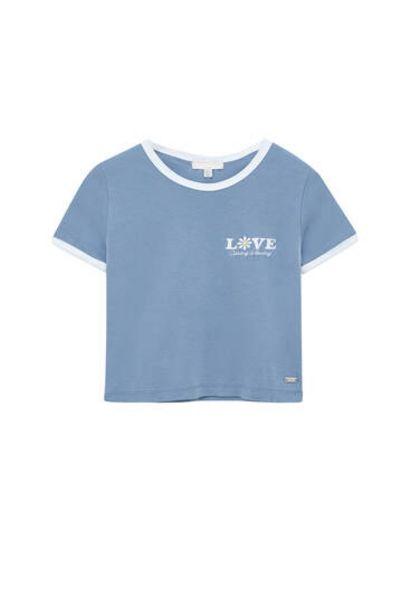 Oferta de Camiseta ajustada bordado contraste por 12,99€