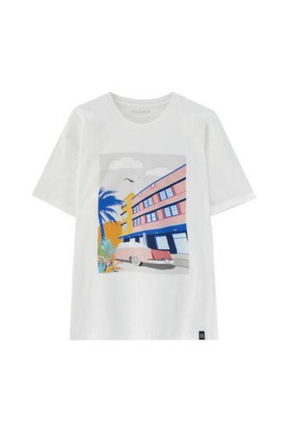 Oferta de Camiseta blanca ilustración Habana por 5,99€