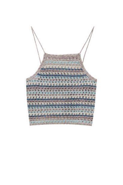 Oferta de Top crochet rayas cuello halter por 2,99€