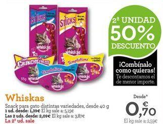 Oferta de Snacks para mascotas Whiskas por 1,39€