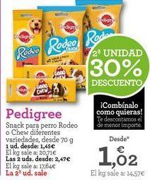 Oferta de Snacks para mascotas Pedigree por 1,45€