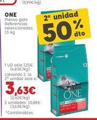 Oferta de Pienso para gatos One por 7,25€