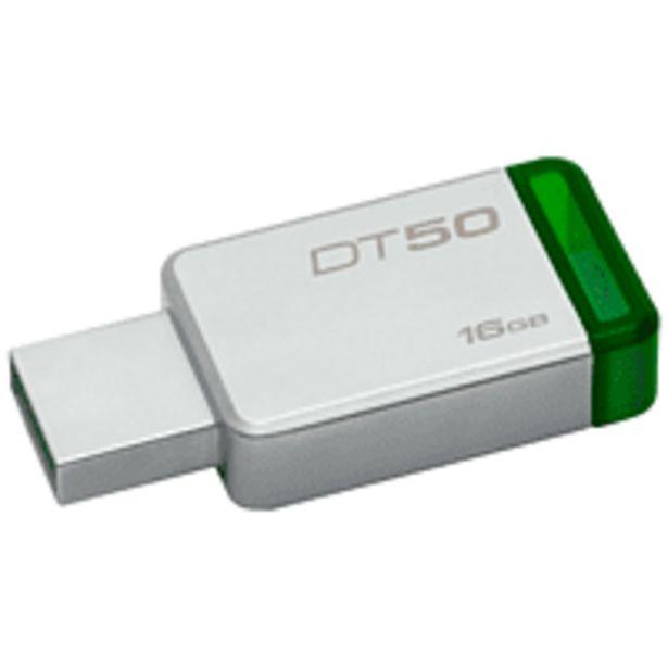 Oferta de Memoria USB 16 GB - Kingston Technology DataTraveler 50 USB 3.0 (3.1 Gen 1) Type-A Verde, Plata por 8,09€