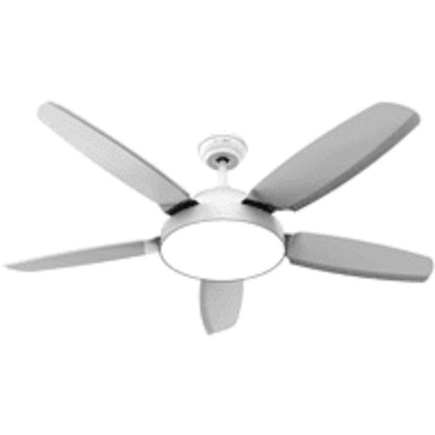Oferta de Ventilador de techo - Universal Blue UVT1311-20, 80W, Con luz, Control remoto, 5 Aspas, Temporizador, Blanco por 119€