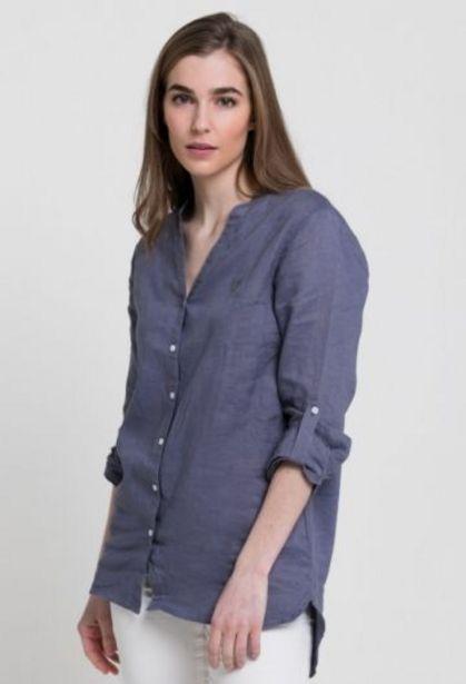 Oferta de Camisa de lino azul de mujer por 34,65€
