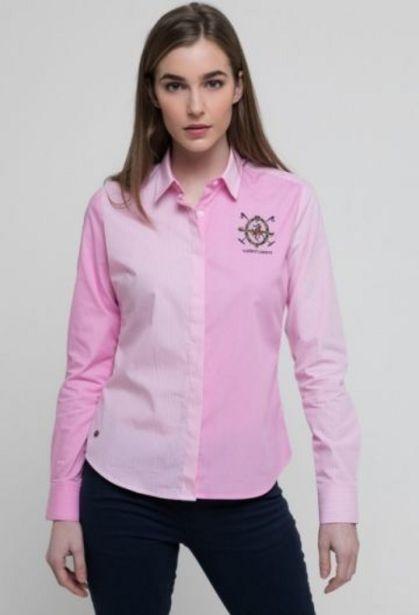 Oferta de Camisa rayas mujer escudo rosa por 31,76€