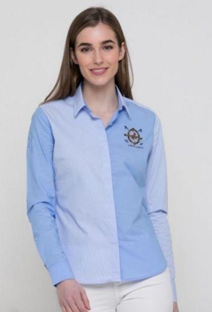 Oferta de Camisa de mujer a rayas escudo azul por 31,76€