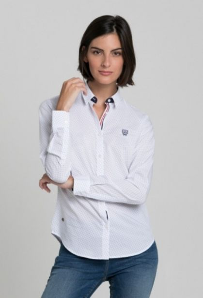 Oferta de Camisa fantasia blanco de mujer por 45,37€