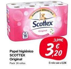 Oferta de Papel higiénico SCOTTEX Original  por 3,2€
