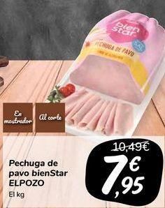 Oferta de Pechuga de pavo bienStar ELPOZO por 7,95€