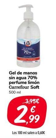 Oferta de Gel de manos sin agua 70% perfume limón Carrefour Soft por 2,99€