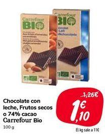 Oferta de Chocolate con leche, Frutos secos o 74% cacao Carrefour Bio por 1,1€